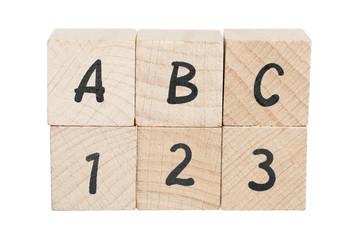ABC 123 Arranged Using Wooden Blocks. Wall mural