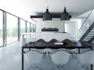 weiße designer küche mit esstisch