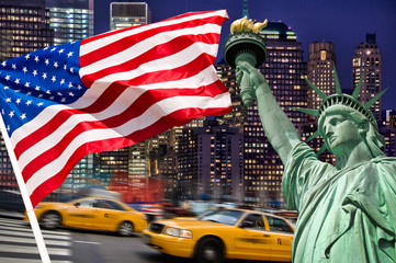 Foto auf AluDibond New York TAXI Montage symbolique Manhattan, New York - USA