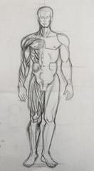 Hand drawing. sketch man figure