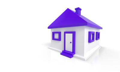 Das kleine lila Haus vor weissem Hintergrund