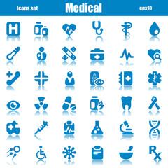 medical icons blue reflex