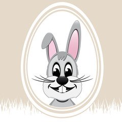 happy easter bunny white egg beige background