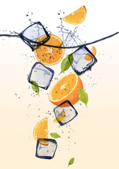 Oranges with ice cubes