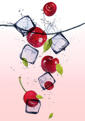 Poster In het ijs Fresh cherries with ice cubes