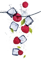 Foto op Canvas In het ijs Raspberries with ice cubes, isolated on white background