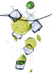 Wall Murals In the ice Limes with ice cubes, isolated on white background