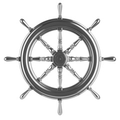 3d Silver ships wheel front view