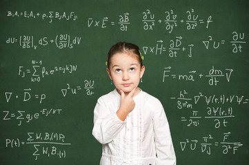 smart girl thinking, chalkboard background