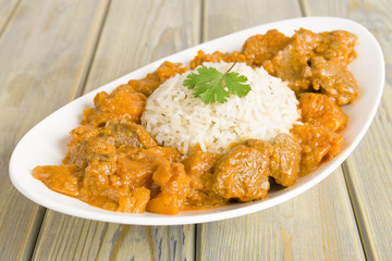 Lamb & sweet potato peanut stew & rice. Caribbean & African food