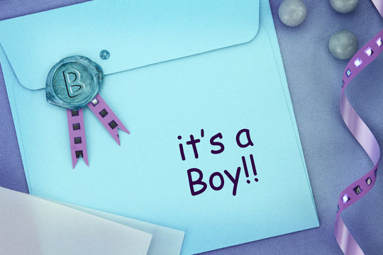 Baby blue envelope with sealing wax stamp