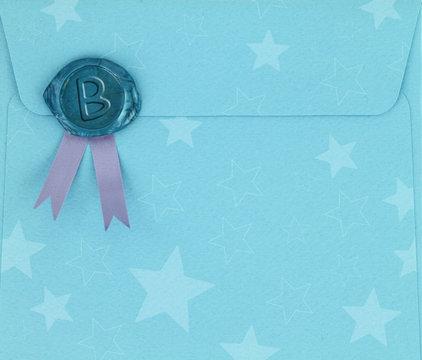 Blue envelope with sealing wax stamp