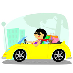 Printed roller blinds Cars the woman in the car
