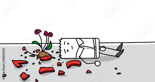 Personnage Assomme Par Un Pot De Fleurs Tombe D Un Balcon Stock