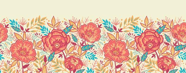 Raster Colorful vibrant flowers elegant horizontal seamless