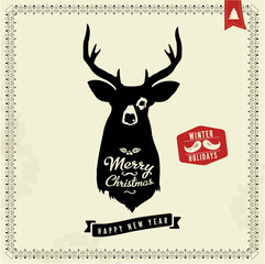 Christmas vintage vector greeting card with premium label