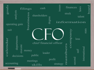 CFO Word Cloud Concept on a Blackboard