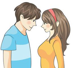 Cute Teen Couple with Manga (cartoon) Style