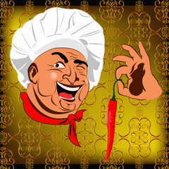 Eastern Chef and red pepper chilli. Vector