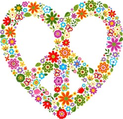 heart peace symbol with floral pattern