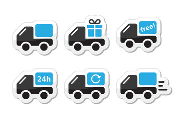 Delivery car, shipping vector icons set