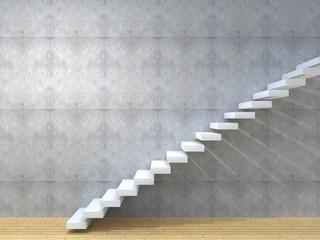 Conceptual white stone or concrete stair