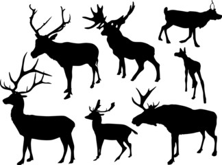 seven isolated deer silhouettes