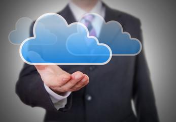 Businessman showing a Cloud