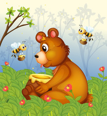 Wall Murals Bears A bear and the pot of honey in the middle of the forest