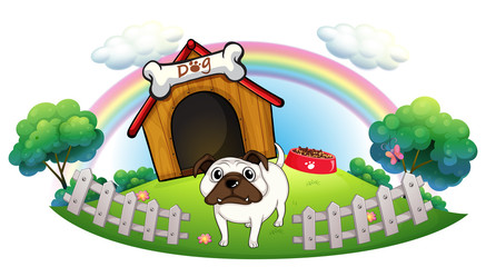Tuinposter Honden A dog with a doghouse