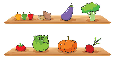 Fruits at the wooden shelves