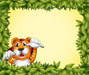 A green frame with a tiger inside