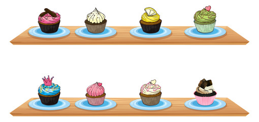 Eight cupcakes at the wooden shelves