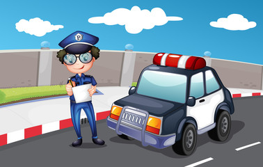 A policeman along the road