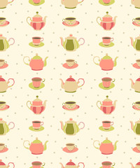 Seamless pattern with teapots and cups #1