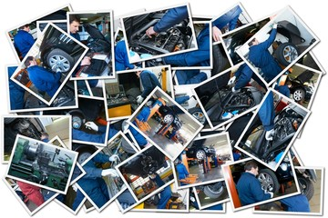 collage whit car repair images