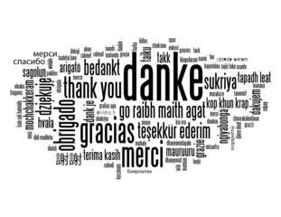 """""""DANKE"""" Wortwolke (Vielen Dank Freundlichkeit Schön Sehr)"""
