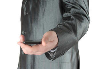 Businessman holds smart phone