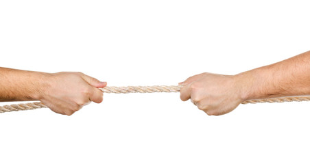 Two men pulling a rope in opposite directions isolated