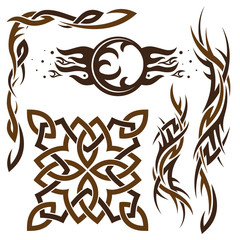 Vector set of Gothic and Celtic ornament for design