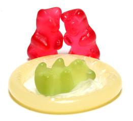Jelly figurine and a condom - birth control concept.