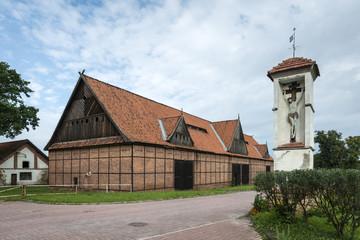 A historic brick barn in Tolkmicko, Poland