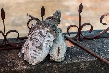 Neglected Buddha image's head