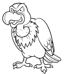 illustration of Cartoon vulture - Coloring book