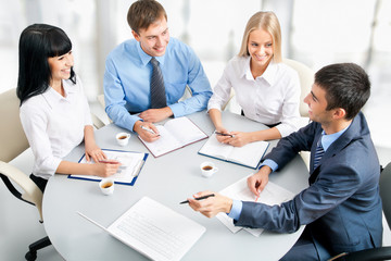 Businesspeople working at meeting