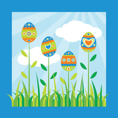 Colorful easter card. Vector illustration.
