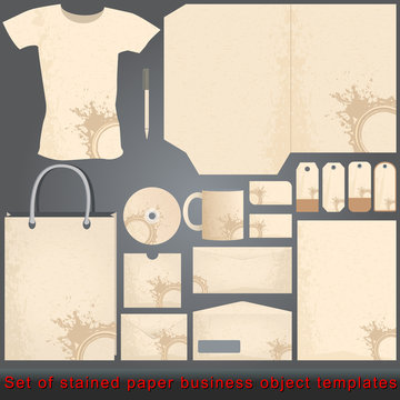 Vintage stained paper style business objects templates
