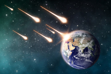 meteorite impacts the Earth space scene