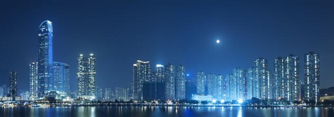 Foto op Aluminium Hong-Kong Full moon over Hong Kong City