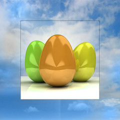 sky background easter card with colorful eggs